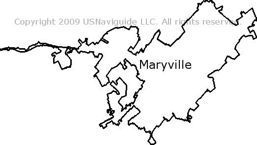 Maryville Tennessee Zip Code Boundary Map Tn
